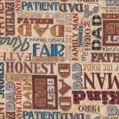 Best Dad Worlds Greatest Father Words Man Mens Quilt Fabric