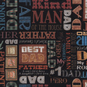 Best Dad Worlds Greatest Father Words Man Mens on Black Quilt Fabric