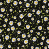 Daisies on Black You are my Sunshine Flowers Quilting Fabric