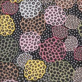Australian Indigenous Aboriginal Dancing Flowers by June Smith Quilting Fabric