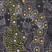 Australian Indigenous Aboriginal Dancing Spirit Black By C. Wallace Quilting Fabric