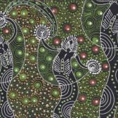 Australian Indigenous Aboriginal Dancing Spirit Green By Colleen Wallace Quilt Fabric