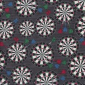 Dartboards Darts Game Man Cave Mens Sport Quilting Fabric