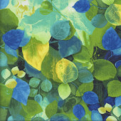 Deep Forest Yellow Blue Green Leaves Quilting Fabric