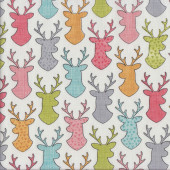 Deer Silhouettes on White Stag Buck Quilting Fabric