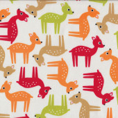 Colourful Bambi Deer Wildlife on White Quilt Fabric