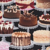 Large Cakes on Black Baking Cooking Quilting Fabric