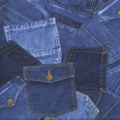 Blue Denim Jeans Pockets Design Fabric