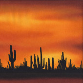 Desert Cacti Silhouettes Outback Sunset Landscape Quilting Fabric