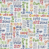 Detour Ahead Construction Words on White Build Truck Quilting Fabric