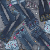 Diamonds and Denim Jeans Girls Ladies Quilt Fabric