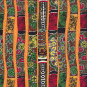 Didgeridoos Aboriginal Design Yellow Green Quilting Fabric