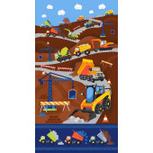 Dig It Dump Cement Truck Excavator Crane Construction Boys Quilt Fabric Panel