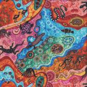 Aboriginal Dilkara Turtle Goanna Kangaroo Quilting Fabric