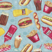 Diner Hotdogs Hamburgers Quilting Fabric