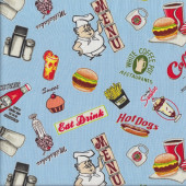 Retro Diner Food Quilting Fabric