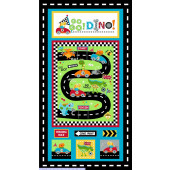 Go Go Dino Roar Dinosaur Racing Cars Boys Quilting Fabric Panel