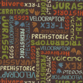 Dino-Riffic Dinosaur Words on Brown Prehistoric quilting Fabric