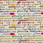 Dinosaur Names Words on White Quilting Fabric