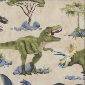 Dinosaurs on Beige T Rex Stegosaurus Palm Trees Boys Quilting Fabric