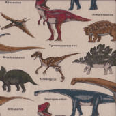 Dinosaurs Triceratops Stegosaurus T-Rex on Light Tan Boys Fabric