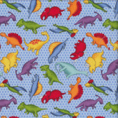 Colourful Dinosaurs on Blue Quilting Fabric