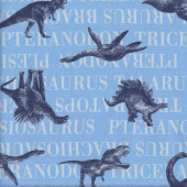 Dinosaurs on Blue Triceratops Brachiosaurus Fabric
