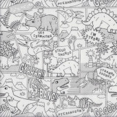 Dinosaurs Colouring in on White Boys Girls Kids Fabric