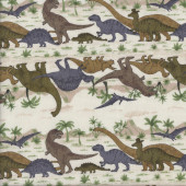 Dinosaurs T-Rex Stegosaurus Volcano Trees on Cream Boys Fabric