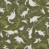 Green T Rex stegosaurus Skeletons Boy Fabric