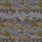 Dinosaurs T-Rex Stegosaurus Volcano Trees on Grey Boys Fabric