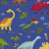 Dinosaurs on Cobalt Blue Lost World Kids Quilting Fabric