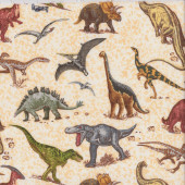 Dinosaurs T-Rex Triceratops Stegosaurus on Beige Quilting Fabric