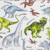 Dinosaurs on White T Rex Triceratops Pteranodon Boys Quilting Fabric