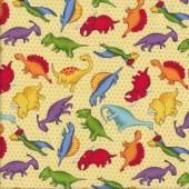 Colourful Dinosaurs on Cream Yellow Dots Quilting Fabric