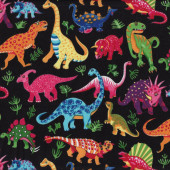 Dinosaurs On Black Kids Boys Childrens Animals Quilt Fabric