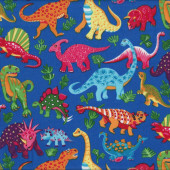 Dinosaurs Royal Blue Kids Boys Childrens Animals Quilt Fabric