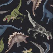 Dinosaurs Brachiosaurus T Rex Stegosaurus on Black Quilting Fabric