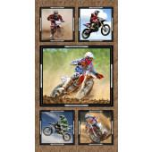 Dirt Bikes Motorbikes Sport Boys Quilting Fabric Panel