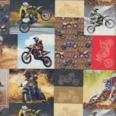 Dirt Bikes in Rectangles Boys Kids Sport Adventure Quilting Fabric