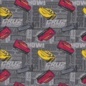 Disney Cars on Grey Cruz To Victory Boys Kids Licensed Quilt Fabric