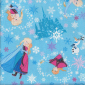Disney Frozen Anna Elsa Olaf Snowflakes Castles on Blue Fabric