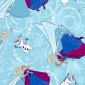 Disney Frozen Anna Elsa Olaf With Glitter Licensed Girls Kids Quilt Fabric