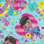 Doc McStuffins on Aqua Pink Stripe Love Hearts Girls Licensed Quilting Fabric