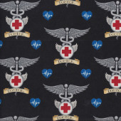 Doctor Symbols on Black Quilting Fabric