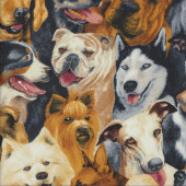 Dogs Bulldogs Kelpie Boxer Chihuahua Poodle Quilting Fabric