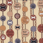 Dog Pet Tags on Beige Dog Gonnit Animal Quilting Fabric