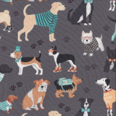Dog Lover Pug Dachshund Westie on Grey Dogs Pet Animal Quilting Fabric