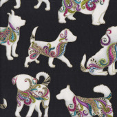 Dog On It White Silhouettes on Black Hot Diggity Gold Metallic Quilting Fabric