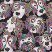 Dog on it Colourful Faces on Black Lets Face it Quilting Fabric